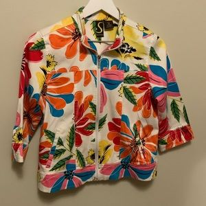 Floral 3/4 Sleeve Petite Jacket with Pockets
